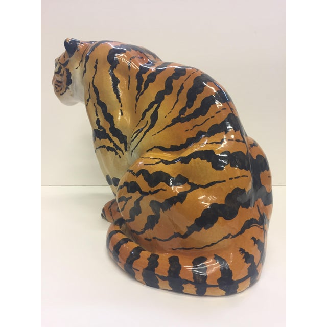 Black Italian Terracotta Seated Tiger Sculpture For Sale - Image 8 of 11