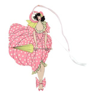 Art Deco Girl in Pink Polka Dots Bridge Tally Card For Sale