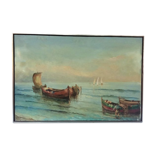 1960s Vintage Boats at Sea Amalfi Coast Oil on Canvas Painting For Sale