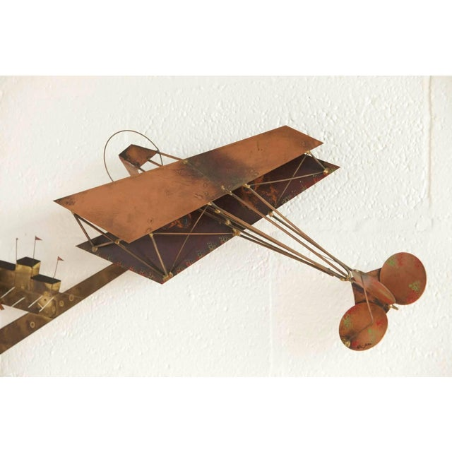 Curtis Jere Brass Wall Sculpture of Airplanes and Airfield, Signed, 1970s For Sale In New York - Image 6 of 11