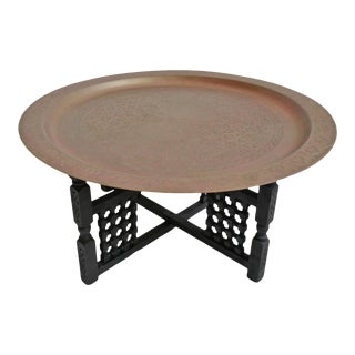 Round Brass Moroccan Tray Table For Sale