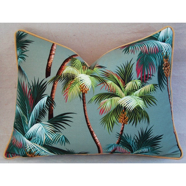 "Oasis Palm Tree Barkcloth Feather/Down Pillows 24"" X 18"" - Pair For Sale In Los Angeles - Image 6 of 11"