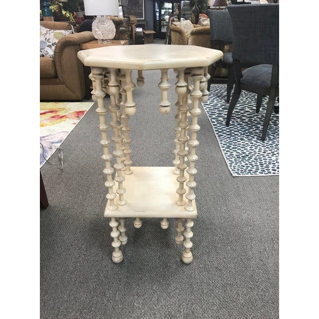 Wood Boho Chic Spindle Legs & Accents Two Tier Side Table For Sale - Image 7 of 7