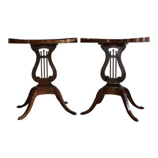 Mersman Mahogany Oval Lyre Base Side Tables - A Pair