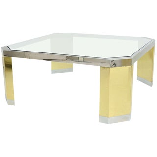 American Modern Polished Brass, Chrome and Glass Low Table For Sale