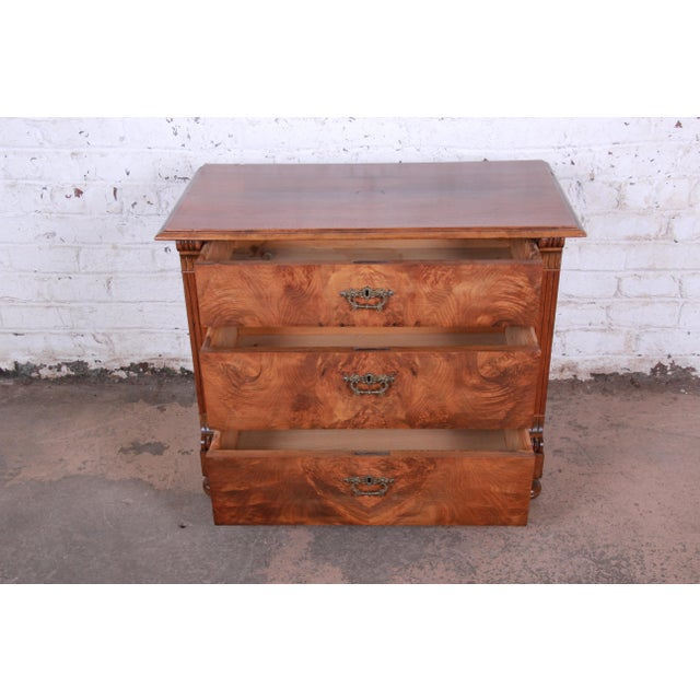 Mid 19th Century 19th Century Continental Burled Walnut Three-Drawer Bachelor Chest For Sale - Image 5 of 13