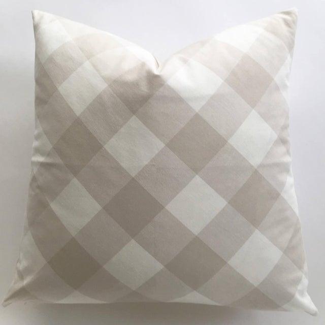 Diagonal Beige & Cream Plaid Pillow Cover - Image 3 of 6