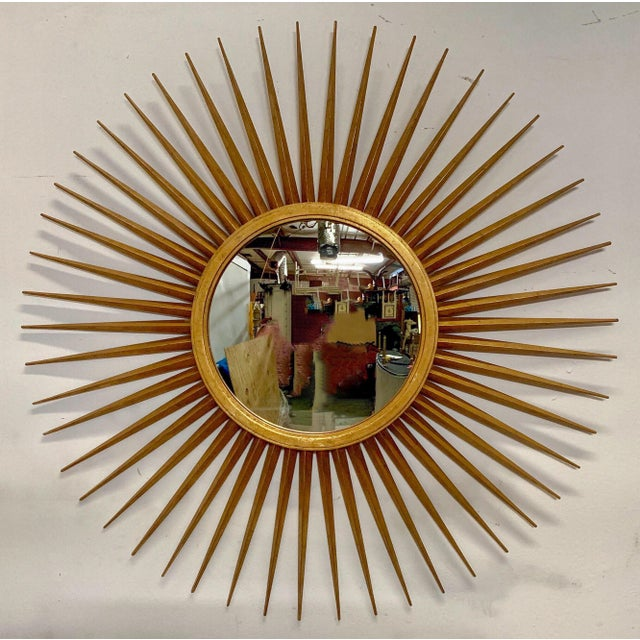1980s Large Hollywood Regency Parrish-Hadley Sunburst Mirror by Baker Furniture For Sale - Image 5 of 7