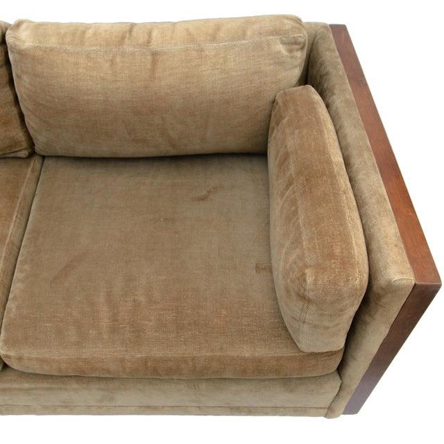 Green Milo Baughman Style Burl Wood Sofa For Sale - Image 8 of 11