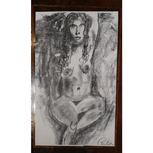 Black Rita Shulak -Nude Female - Sketch Painting-Charcoal For Sale - Image 8 of 8