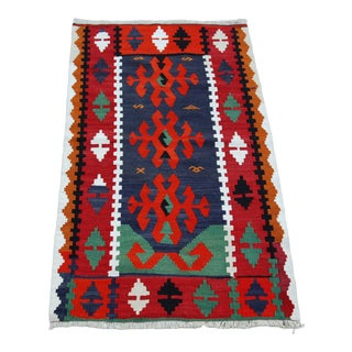 "Vintage Kilimrug-Turkish Rug-Nomad-Anatolian-Woven Rug-Kilim-Colorful Rug-Geometric-Small Kilim-Weave Wool Tribal Rug-1'11""x3'5""-Accent Rug-Area Rug For Sale"