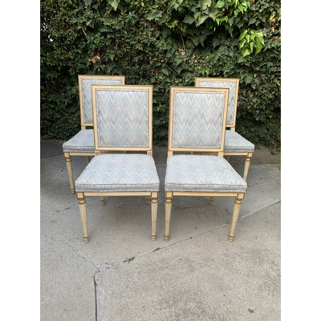 Hollywood Regency Hollywood Regency Dining Chairs With Blue Upholstery - Set of 4 For Sale - Image 3 of 8