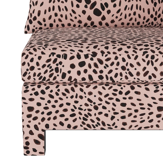 Washed Cheetah Pink Corner Chair For Sale - Image 4 of 7