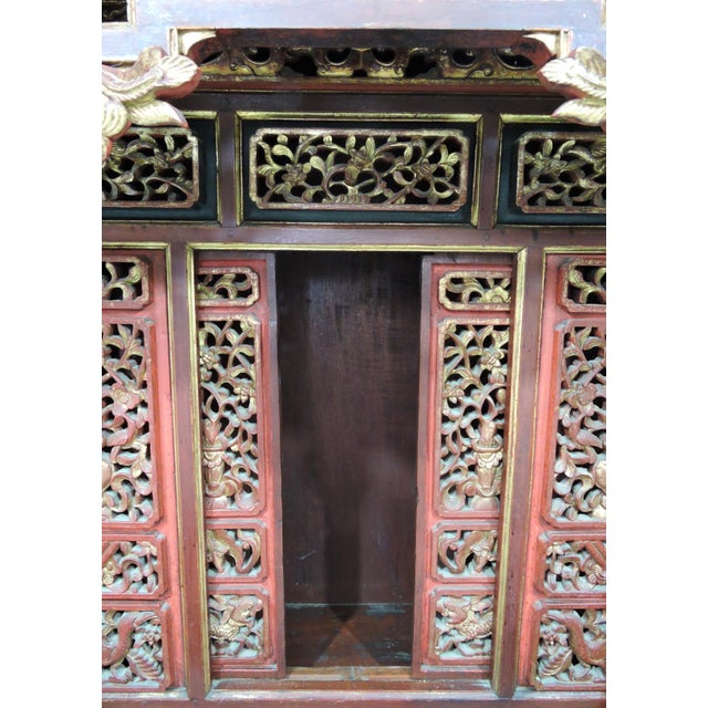 Orange 20th Century Ornate Asian Red & Gold Carved Console Table, Thai 'Spirit House' For Sale - Image 8 of 10