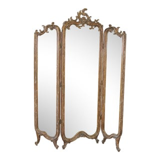 Antique Louis XV Style French Mirrored Room Divider Screen For Sale