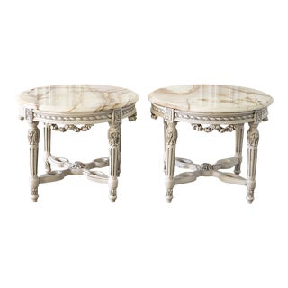 20th Century Louis XVI Carved Rose Swag Side Tables With Onyx Top - a Pair For Sale