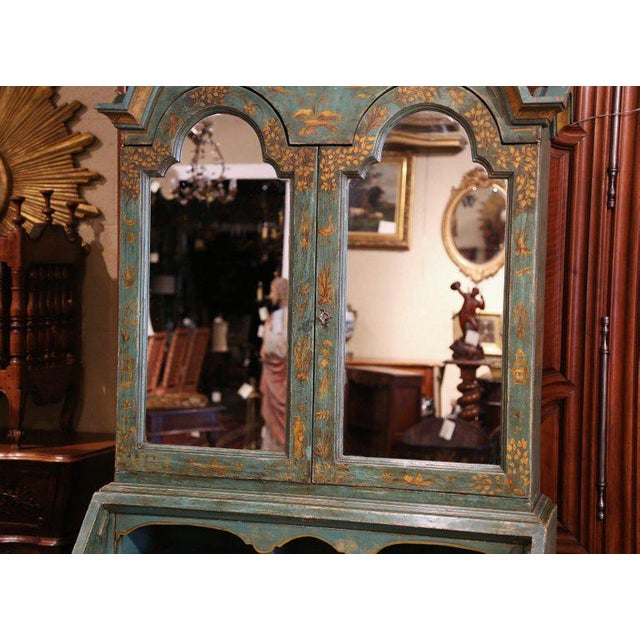 Asian 18th Century Italian Hand Painted Secretary Bookcase With Chinoiserie Decor For Sale - Image 3 of 12