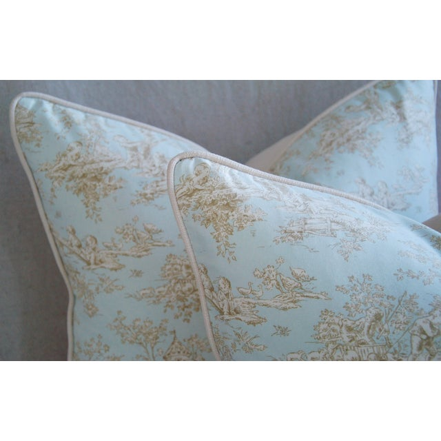 Designer French Blue & White Toile Pillows - Pair - Image 5 of 8