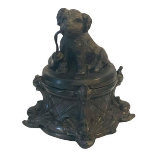 Antique French Inkwell With Dog For Sale