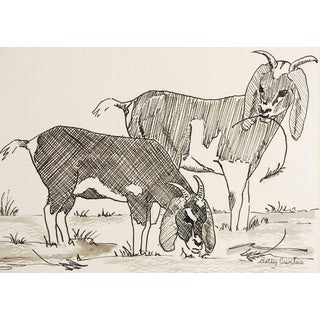 Pen & Ink Drawing of Goats For Sale