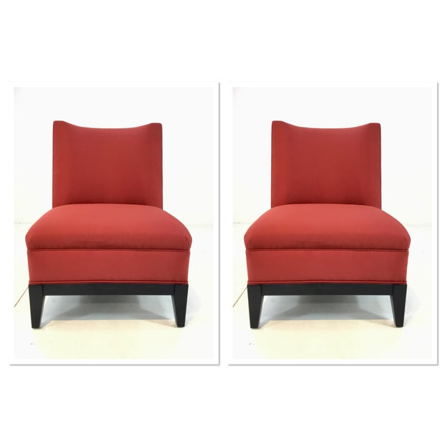 Wood Drexel Heritage Modern Rachelle Red Satin Chairs Pair For Sale - Image 7 of 7