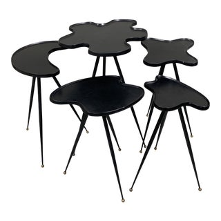 1990s Modern Black Italian Side Tables - Set of 5 For Sale
