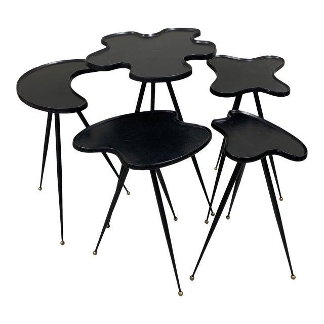 1990s Modern Black Italian Side Tables - Set of 5 For Sale