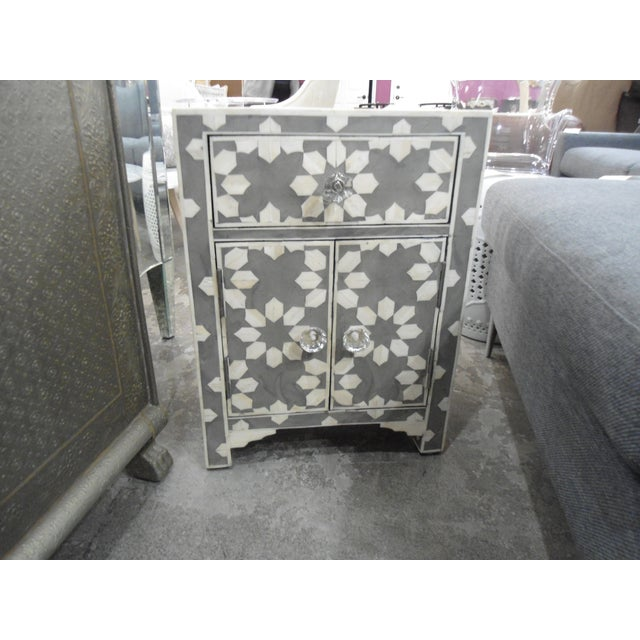Traditional HD Buttercup Bone Inlay Nightstand For Sale - Image 3 of 5