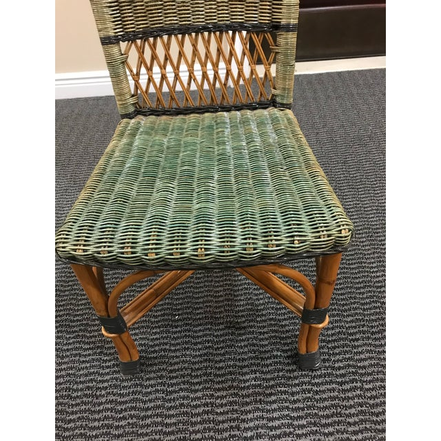 Wood Grange Stained Rattan and Wood Dining or Patio Chairs -Set of 6 For Sale - Image 7 of 8