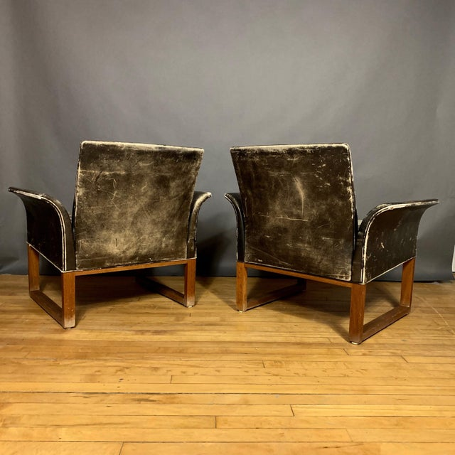 Hans Olsen Pair of Danish 1960s Faded Black Leather Lounge Chairs For Sale - Image 4 of 13