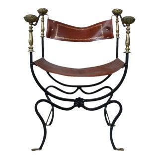 20th Century Italian Iron Campaign Chair