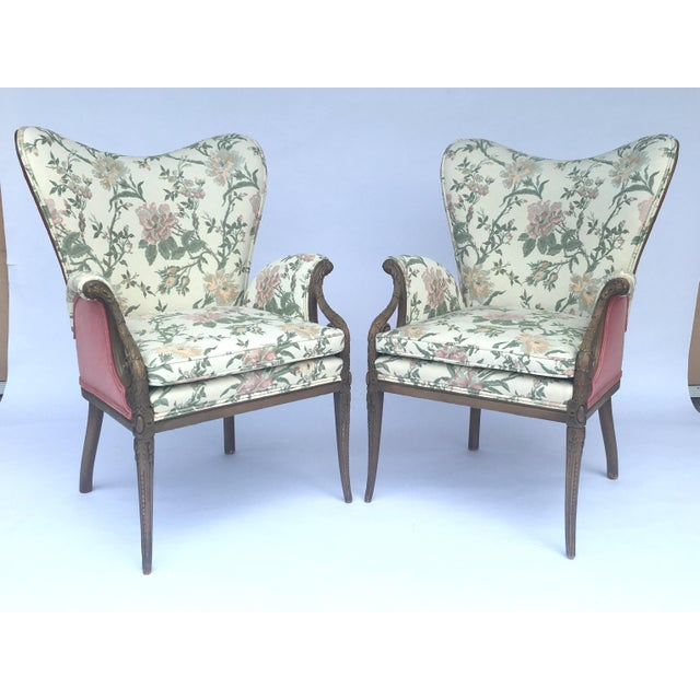 Carved French Hollywood Regency Style Butterfly Wing Chairs For Sale - Image 5 of 10