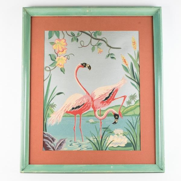 This mid 20th century painting by M. Devoe depicts his iconic flamingos against a silver metallic background. Unsigned,...