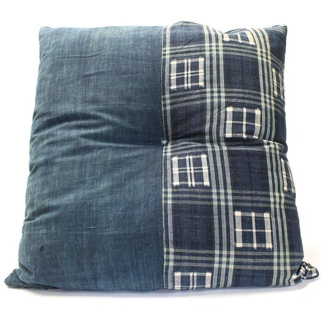 Japanese Furoshiki & Kasuri Futonji Floor Pillow For Sale - Image 4 of 6