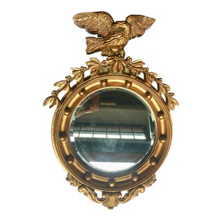 Sculptural Federal Style Round Eagle Mirror For Sale