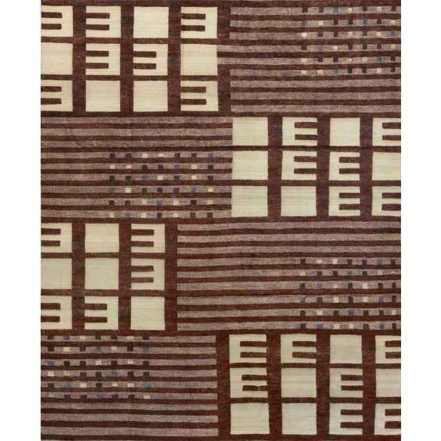 Textile Mansour Modern Handwoven Swedish Inspired Contemporary Wool Rug For Sale - Image 7 of 7