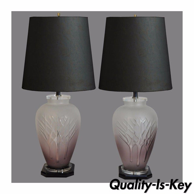 Pair Vintage Mid Century Modern Frosted Purple Glass & Lucite Table Lamps For Sale - Image 11 of 11