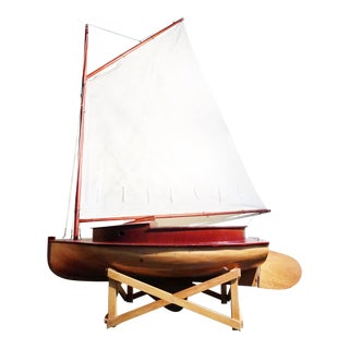 Monumental Vintage Italian Wooden Sailboat For Sale