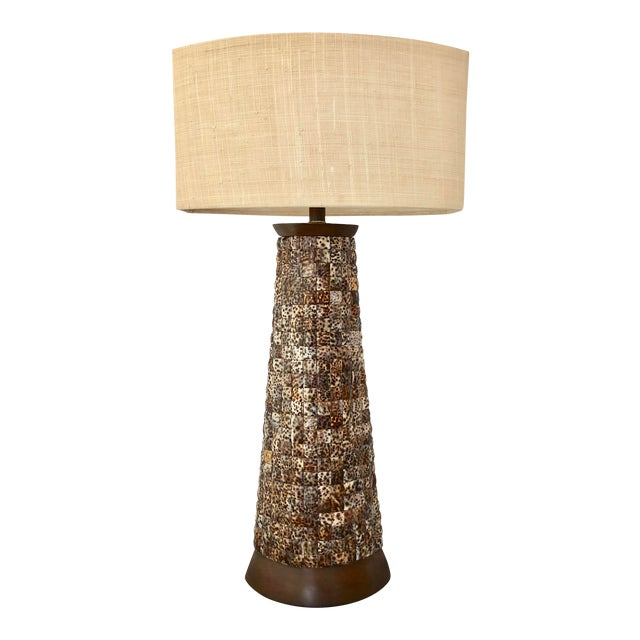 XL Mosaic Shell Table Lamp With Shade For Sale