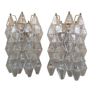 "Italian Murano Glass ""Poliedri"" Wall Sconces - a Pair For Sale"