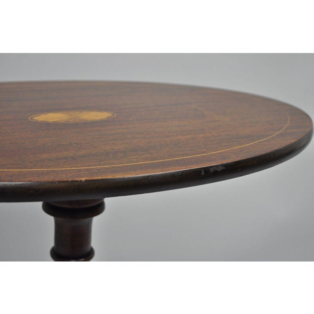 Brown Early 20th Century Antique Mahogany Pinwheel Inlaid Oval Tilt Top End Table For Sale - Image 8 of 13