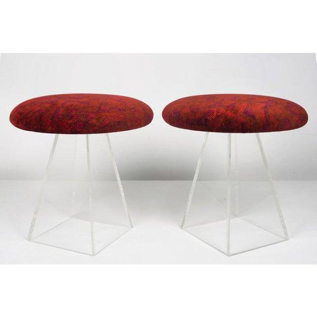 """Pair of Vladimir Kagan Lucite stools in Jack Lenor Larsen velvet USA, 1950s Seats in new old stock """"Nazca"""" velvet,..."""