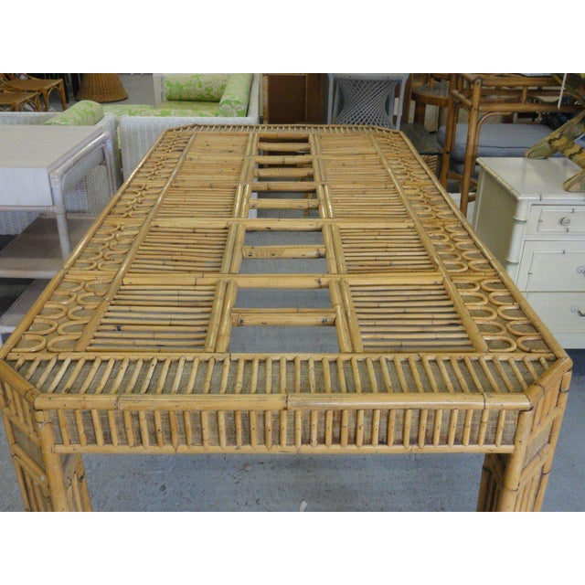 Regency Intricate Natural Bamboo Dining Table For Sale - Image 3 of 13