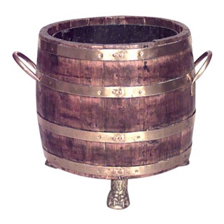 19th Century English Slat Wood Barrel-Shaped Planter For Sale