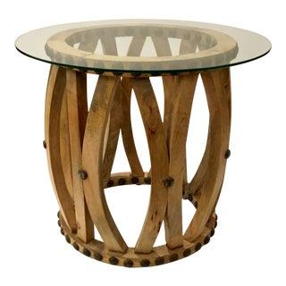 Industrial Modern Barrel Slat Studded Side Table For Sale