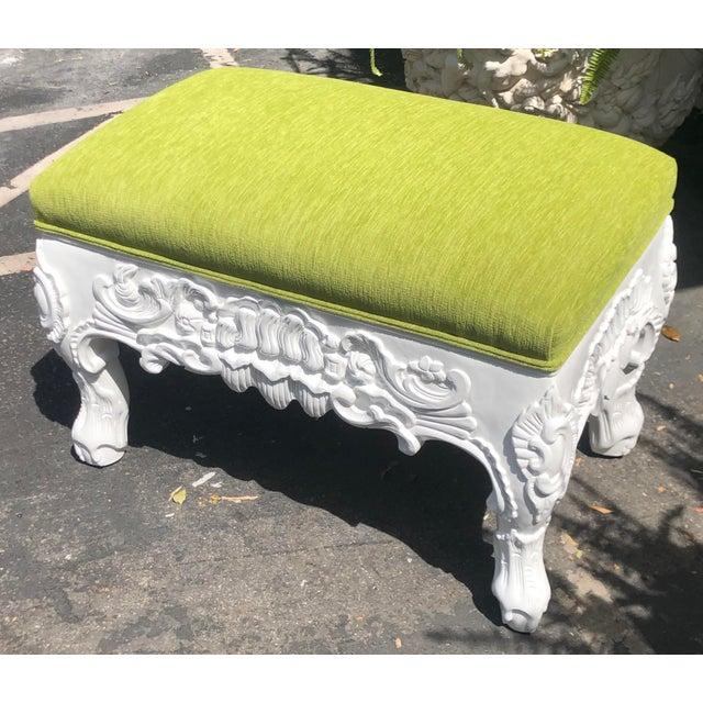 Hollywood Regency Charles Pollock Hollywood Regency Chartreuse Velvet Ottoman Footstool Bench For Sale - Image 3 of 4