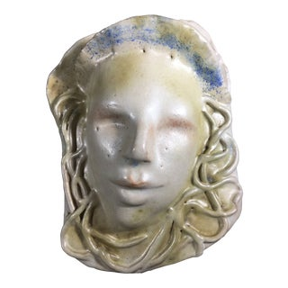1970s Sculptural Art Pottery Portrait/Wall Pocket For Sale
