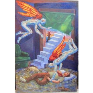 Frank Gutierrez Surrealist Angel Figures Painting For Sale