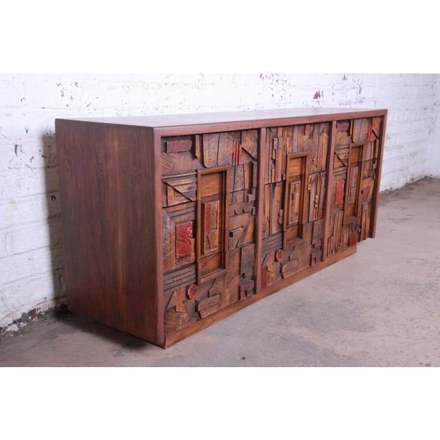 Brutalist Lane Pueblo Brutalist Mid-Century Modern Oak Long Dresser or Credenza, 1970s For Sale - Image 3 of 13