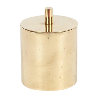 Mid-Century Modern Italian Polished Brass Cylindrical Box by Arredoluce For Sale